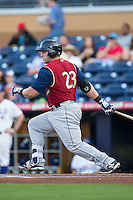 Kyle Roller (23) of the Scranton/Wilkes-Barre RailRiders follows through on his swing against the Durham Bulls at Durham Bulls Athletic Park on May 15, 2015 in Durham, North Carolina.  The RailRiders defeated the Bulls 8-4 in 11 innings.  (Brian Westerholt/Four Seam Images)
