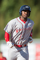 Kyri Washington (21) of the Greenville Drive rounds the bases after hitting a home run against the Kannapolis Intimidators at Intimidators Stadium on June 7, 2016 in Kannapolis, North Carolina.  The Drive defeated the Intimidators 4-1 in game one of a double header.  (Brian Westerholt/Four Seam Images)