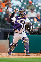 Texas Christian Horned Frogs catcher Kyle Bacak #6 makes a throw to first base against the Sam Houston State Bearkats at Minute Maid Park on February 28, 2014 in Houston, Texas.  The Bearkats defeated the Horned Frogs 9-4.  (Brian Westerholt/Four Seam Images)