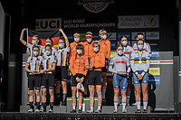 Team Nation podium<br /> <br /> 1st place Team Netherlands<br /> 2nd place Team Germany<br /> 3th place Team Great Britain<br /> <br /> Women Junior – Road Race (WC)<br /> Race from Leuven to Leuven (75km)<br /> <br /> UCI Road World Championships – Flanders Belgium 2021<br /> <br /> ©kramon