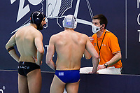 19-02-2021: Waterpolo: Greece v France: Rotterdam<br /> <br /> ROTTERDAM, NETHERLANDS - FEBRUARY 19: Ugo Crousillat of France, Ioannis Fountoulis of Greece, referee Frank Ohme (GER) during the Olympic Waterpolo Qualification Tournament 2021 match between Greece and France at Zwemcentrum Rotterdam on February 19, 2021 in Rotterdam, Netherlands (Photo by Marcel ter Bals/Orange Pictures)