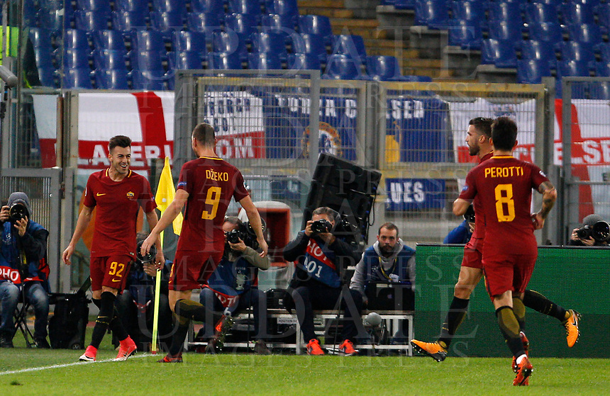 Roma s Stephan El Shaarawy, left, celebrates with his teammates, from second left, Edin Dzeko, Kevin Strootman and Diego Perotti, after scoring his second goal during the Champions League Group C soccer match between Roma and Chelsea at Rome's Olympic stadium, October 31, 2017.<br /> UPDATE IMAGES PRESS/Riccardo De Luca