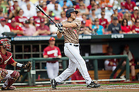 Virginia Cavaliers outfielder Joe McCarthy (31) slugs a home run in the second inning against the Arkansas Razorbacks in Game 1 of the NCAA College World Series on June 13, 2015 at TD Ameritrade Park in Omaha, Nebraska. Virginia defeated Arkansas 5-3. (Andrew Woolley/Four Seam Images)