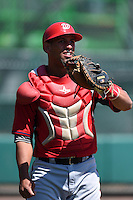 Washington Nationals catcher Adderling Ruiz (27) during practice before a minor league spring training game against the Atlanta Braves on March 26, 2014 at Wide World of Sports in Orlando, Florida.  (Mike Janes/Four Seam Images)