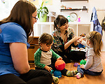 April 7, 2017. Durham, North Carolina.<br /> <br /> Lis Tyroler, center, one of the owners of Nido, works with Filomena Overington and Caleb Miller D'Silva in the on site daycare center. <br /> <br /> Nido is a co-working space which also offers a Montessori preschool on site. Catering to working parents with morning and afternoon preschool shifts, Nido has thrived and is actively looking for a larger space. <br /> <br /> Jeremy M. Lange for The New York TImes