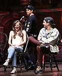 "Eliza Ohman, David Guzman and Ryan Vasquez from the 'Hamilton' cast during a Q & A before The Rockefeller Foundation and The Gilder Lehrman Institute of American History sponsored High School student #EduHam matinee performance of ""Hamilton"" at the Richard Rodgers Theatre on June 6, 2018 in New York City."