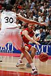 Real Madrid´s Bourousis and CAI Zaragoza´s Llompart (R) during 2013-14 Liga Endesa basketball match at Palacio de los Deportes stadium in Madrid, Spain. May 30, 2014. (ALTERPHOTOS/Victor Blanco)