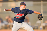 Relief pitcher Matt Hauser #17 of the Elizabethton Twins in action against the Johnson City Cardinals at Howard Johnson Field July 3, 2010, in Johnson City, Tennessee.  Photo by Brian Westerholt / Four Seam Images