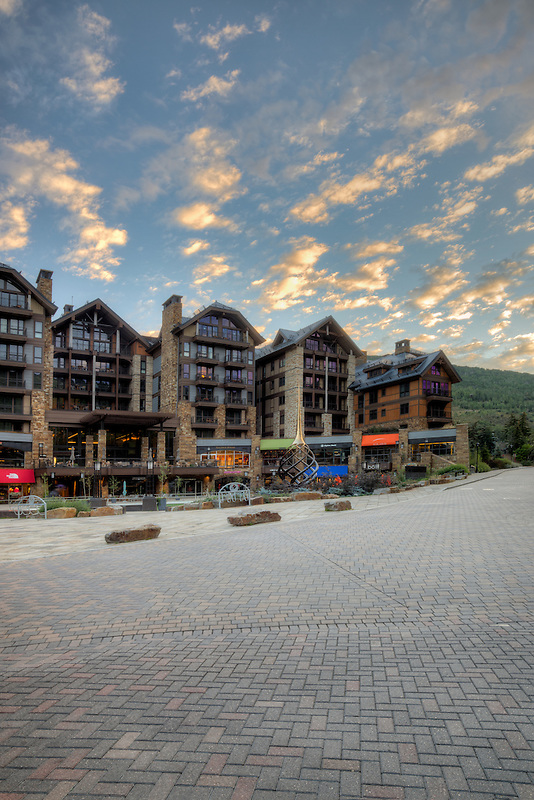 Sunrise on Vail Village street, Vail, Colorado