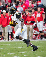The Georgia Bulldogs beat the App State Mountaineers 45-6 in their homecoming game.  After a close first half, UGA scored 31 unanswered points in the second half.  Appalachian State Mountaineers running back Justin Ruffin (21)