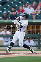 Nicky Delmonico (13) of the Charlotte Knights connects for a 2-run home run in the bottom of the first inning against the Durham Bulls at BB&T BallPark on May 15, 2017 in Charlotte, North Carolina. The Knights defeated the Bulls 6-4.  (Brian Westerholt/Four Seam Images)