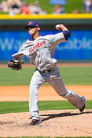 Starting pitcher Giovanni Soto #37 of the Kinston Indians in action against the Winston-Salem Dash at BB&T Ballpark on April 17, 2011 in Winston-Salem, North Carolina.   Photo by Brian Westerholt / Four Seam Images