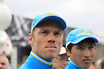 Lars Boom (NED) Astana Pro Team at the Team Presentations in Compiegne before the 2015 Paris-Roubaix cycle race held over the cobbled roads of Northern France. 11th April 2015.<br /> Photo: Eoin Clarke www.newsfile.ie