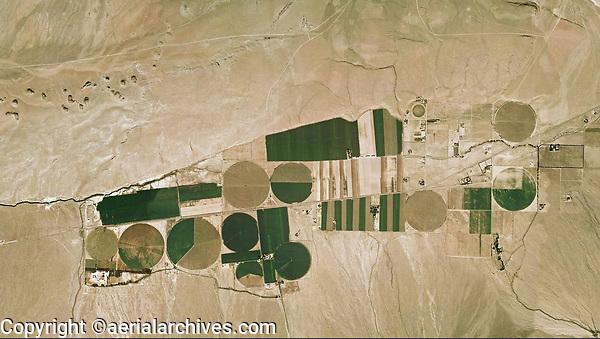 aerial photograph of center pivot irrigation in the California desert, Inyo County, California