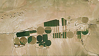 aerial photograph of center pivot irrigation in the California desert, Inyo County, California
