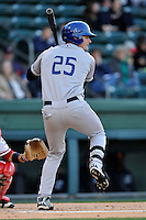 Left fielder Sam Hilliard (25) of the Asheville Tourists bats in a game against the Greenville Drive on Thursday, April 7, 2016, at Fluor Field at the West End in Greenville, South Carolina. Greenville won, 4-3. (Tom Priddy/Four Seam Images)