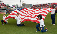 14 April 2012: The kids hold the flag of the United States  during the opening ceremonies in a game between Chivas USA and Toronto FC at BMO Field in Toronto..Chivas USA won 1-0..