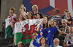 Welsh supports cheers on Harry Owen<br /> <br /> Gymnastics artistic - Team final & Individual Qualification <br /> <br /> Photographer Chris Vaughan/Sportingwales<br /> <br /> 20th Commonwealth Games - Day 5 - Monday 28th July 2014 - Gymnastics artistic - The SSE Hydro - Glasgow - UK