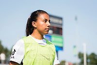 CARY, NC - SEPTEMBER 12: Marissa Everett #40 of the Portland Thorns warms up during a game between Portland Thorns FC and North Carolina Courage at Sahlen's Stadium at WakeMed Soccer Park on September 12, 2021 in Cary, North Carolina.