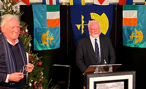Caught on the hop – Aonghus Concannon (left) looking properly pleased after his surprise announcement of the Lifetime Achievement Award to Pierce Purcell (right) had gone exactly according to plan