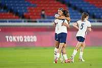 YOKOHAMA, JAPAN - JULY 30: Tobin Heath #7 and Lynn Williams #21 of the United States celebrate a goal during a game between Netherlands and USWNT at International Stadium Yokohama on July 30, 2021 in Yokohama, Japan.