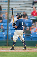 Jose Gomez (5) of the Helena Brewers at bat against the Great Falls Voyagers at Centene Stadium on August 19, 2017 in Helena, Montana.  The Voyagers defeated the Brewers 8-7.  (Brian Westerholt/Four Seam Images)