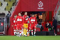 11th October 2020, The Stadion Energa Gdansk, Gdansk, Poland; UEFA Nations League football, Poland versus Italy; ROBERT LEWANDOWSKI, LUKASZ FABIANSKI and PILKARZE POLSKI arrive pitch side