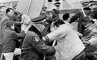 1966 FILE - <br /> <br /> Strikes - Violence on the picket Line-A symbol of Canada's worst year for Labor Unrest<br /> <br /> <br /> 1965<br /> <br /> PHOTO :  Gordon McCaffrey - Toronto Star Archives - AQP