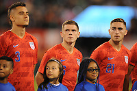 EAST RUTHERFORD, NJ - SEPTEMBER 7: Aaron Long #3 of the United States, Wil Trapp #6 of the United States, Tyler Boyd #21 of the United States during the presentation of the team during a game between Mexico and USMNT at MetLife Stadium on September 6, 2019 in East Rutherford, New Jersey.