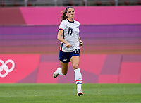 KASHIMA, JAPAN - AUGUST 2: Alex Morgan #13 of the USWNT sprints forward during a game between Canada and USWNT at Kashima Soccer Stadium on August 2, 2021 in Kashima, Japan.