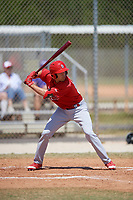 St. Louis Cardinals Dylan Carlson (26) bats during a minor league Spring Training game against the Washington Nationals on March 27, 2017 at the Roger Dean Stadium Complex in Jupiter, Florida.  (Mike Janes/Four Seam Images)