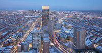 Downtown and Copley Square, Boston, MA winter snow view from Prudential skywalk