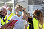 Arbroath v St Johnstone…21.07.21  Gayfield Park<br />Ali McCann has his temperature checked as he arrives at Gayfield Park<br />Picture by Graeme Hart.<br />Copyright Perthshire Picture Agency<br />Tel: 01738 623350  Mobile: 07990 594431