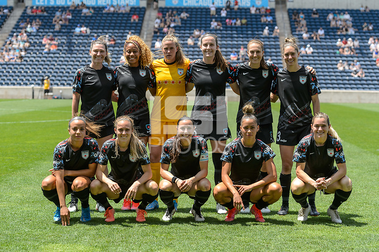 BRIDGEVIEW, IL - JUNE 5: Chicago Red Stars Starting XI pose for a photo before a game between North Carolina Courage and Chicago Red Stars at SeatGeek Stadium on June 5, 2021 in Bridgeview, Illinois.