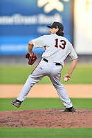 Aberdeen IronBirds pitcher Jonathan Pendergast (13) delivers a pitch during a game against the Asheville Tourists on June 15, 2021 at McCormick Field in Asheville, NC. (Tony Farlow/Four Seam Images)