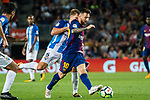 Lionel Andres Messi (r) of FC Barcelona fights for the ball with Esteban Rolon of Malaga CF during the La Liga 2017-18 match between FC Barcelona and Malaga CF at Camp Nou on 21 October 2017 in Barcelona, Spain. Photo by Vicens Gimenez / Power Sport Images