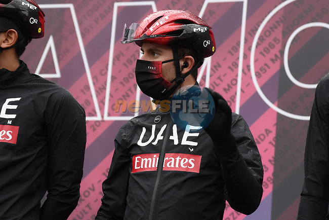 UAE Team Emirates at sign on before the start of Stage 3 of the 2021 Giro d'Italia, running 190km from Biella to Canale, Italy. 10th May 2021.  <br /> Picture: LaPresse/Gian Mattia D'Alberto   Cyclefile<br /> <br /> All photos usage must carry mandatory copyright credit (© Cyclefile   LaPresse/Gian Mattia D'Alberto)