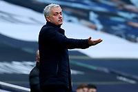 28th February 2021; Tottenham Hotspur Stadium, London, England; English Premier League Football, Tottenham Hotspur versus Burnley; Tottenham Hotspur Manager Jose Mourinho questions the referees decision