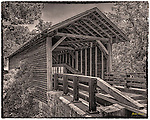 """Harrisburg Covered Bridge outside Sevierville, TN. Three-shot HDR """"antiqued"""" in Photoshop."""