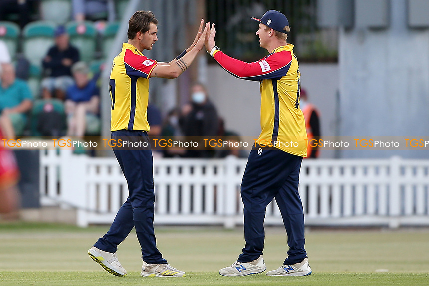 Jack Plom of Essex celebrates taking the wicket of Lewis Gregory during Somerset vs Essex Eagles, Vitality Blast T20 Cricket at The Cooper Associates County Ground on 9th June 2021