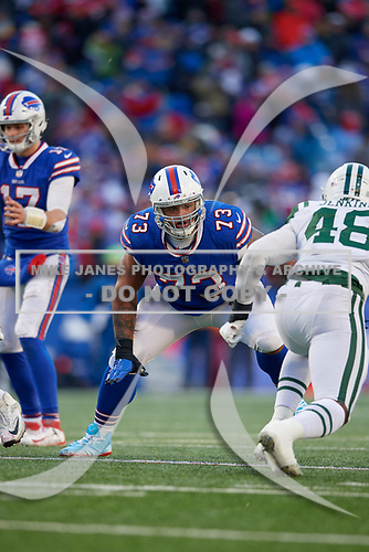 Buffalo Bills tackle Dion Dawkins (73) blocks during an NFL football game against the New York Jets, Sunday, December 9, 2018, in Orchard Park, N.Y.  (Mike Janes Photography)