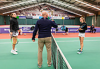 Wateringen, The Netherlands, December 8,  2019, De Rhijenhof , NOJK juniors 14 and18 years, Finals girls 18 years: toss with Anouk Koevermans (NED) (L) and Sophie Schouten (NED)<br /> Photo: www.tennisimages.com/Henk Koster