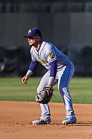 Burlington Bees first baseman Connor Fitzsimons (4) gets in defensive position during a Midwest League game against the Wisconsin Timber Rattlers on April 26, 2019 at Fox Cities Stadium in Appleton, Wisconsin. Wisconsin defeated Burlington 2-0. (Brad Krause/Four Seam Images)