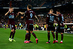 Players of RC Celta de Vigo celebrate goal during La Liga match between Real Madrid and RC Celta de Vigo at Santiago Bernabeu Stadium in Madrid, Spain. February 16, 2020. (ALTERPHOTOS/A. Perez Meca)