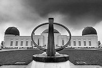 Griffith Observatory and Sundial.  Griffith Park, Los Angeles CA. High Dynamic Range image made from 3 exposures.