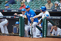 Kentucky Wildcats assistant coach Todd Guilluam looks on from the dugout against the Sam Houston State Bearkats during game four of the 2018 Shriners Hospitals for Children College Classic at Minute Maid Park on March 3, 2018 in Houston, Texas. The Wildcats defeated the Bearkats 7-2.  (Brian Westerholt/Four Seam Images)
