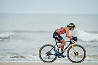 Marianne Vos (NED/Jumbo-Visma) racing next to the seashore<br /> <br /> UCI 2021 Cyclocross World Championships - Ostend, Belgium<br /> <br /> Women's Race<br /> <br /> ©kramon