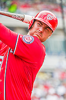 21 June 2015: Washington Nationals first baseman Clint Robinson on deck against the Pittsburgh Pirates at Nationals Park in Washington, DC. The Nationals defeated the Pirates 9-2 to sweep their 3-game weekend series, and improve their record to 37-33. Mandatory Credit: Ed Wolfstein Photo *** RAW (NEF) Image File Available ***