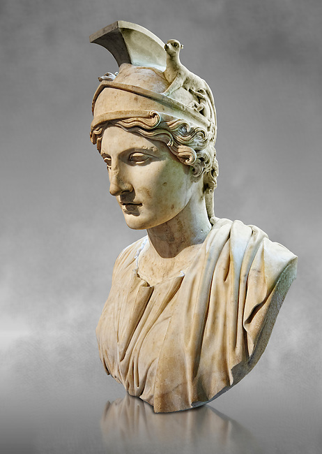 Bust of Rome - a 1st or 2nd century Ad Roman sculpture made in marble, from Italy. The Borghese Collection Inv No. MR 643 or Ma 1209, Louvre Museum, Paris.