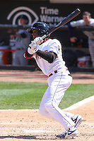 Wisconsin Timber Rattlers shortstop Luis Aviles (6) at bat during a game against the Cedar Rapids Kernels on April 23rd, 2015 at Fox Cities Stadium in Appleton, Wisconsin.  Cedar Rapids defeated Wisconsin 3-0.  (Brad Krause/Four Seam Images)